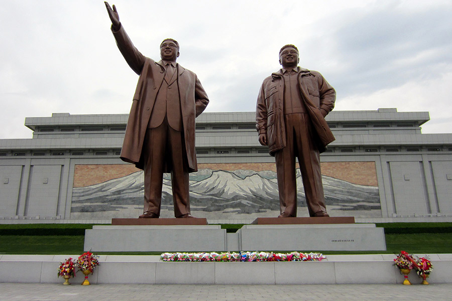 Mansu Hill and the 22-meter Bronze-made statues of Kim Il Sung and Kim Jong Il