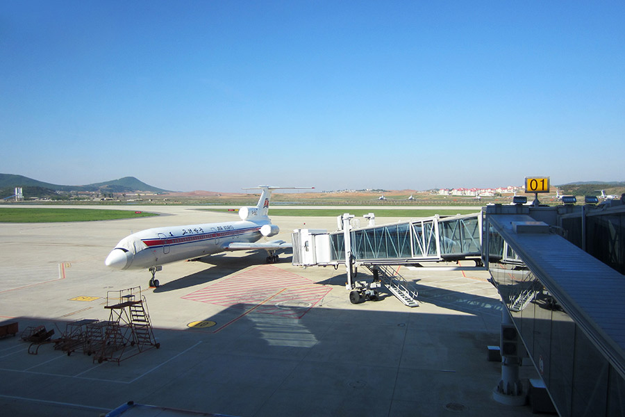 Ramp view depicting an Air Koryo Tupolev Tu-154